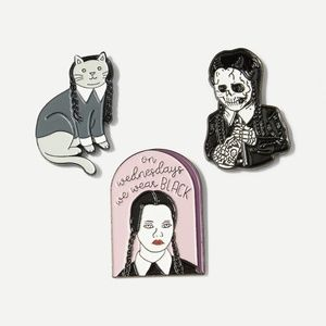 New Wednesday Adams 3 Piece Brooch Set